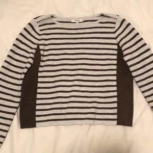 Madewell Green Striped Long Sleeve Top